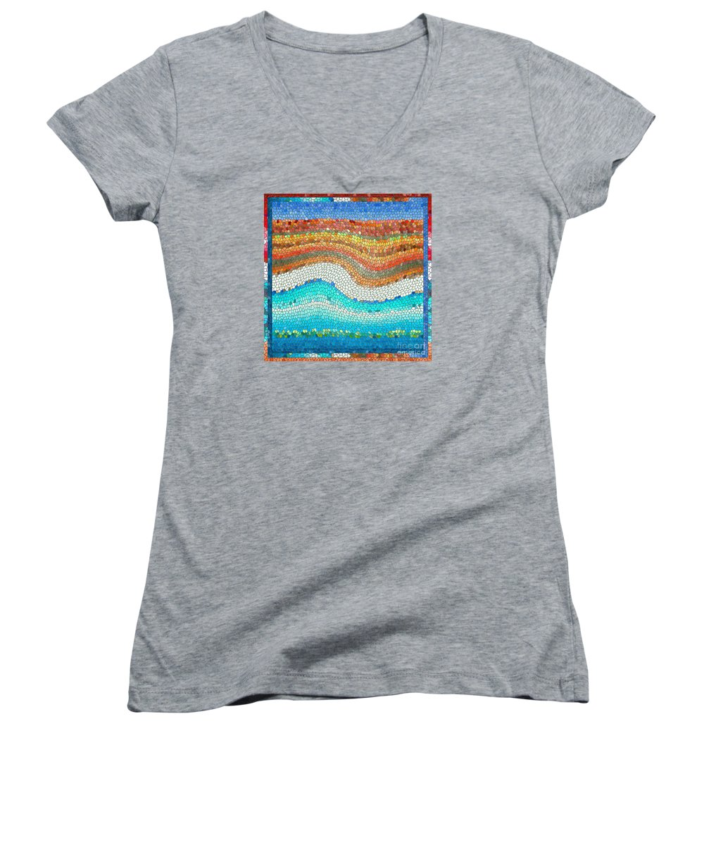Colorful Women's V-Neck T-Shirt featuring the digital art Summer Mosaic by Melissa A Benson