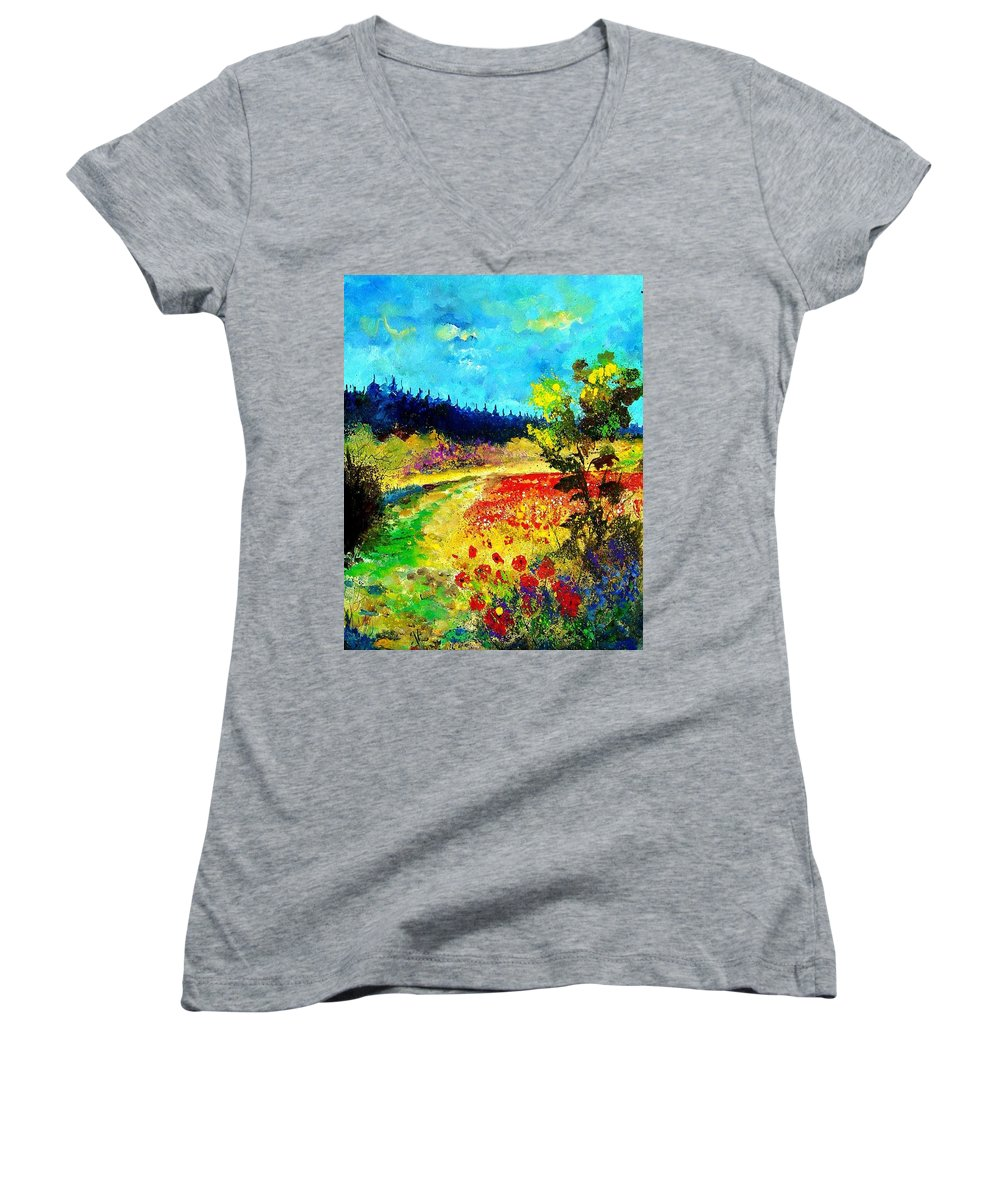 Flowers Women's V-Neck T-Shirt featuring the painting Summer by Pol Ledent