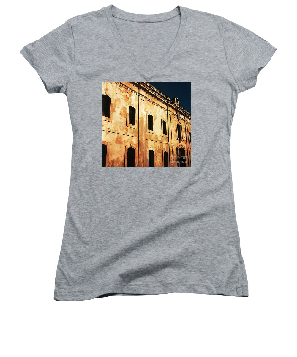 Buildings Women's V-Neck T-Shirt featuring the photograph Sun Kissed by Jeff Barrett