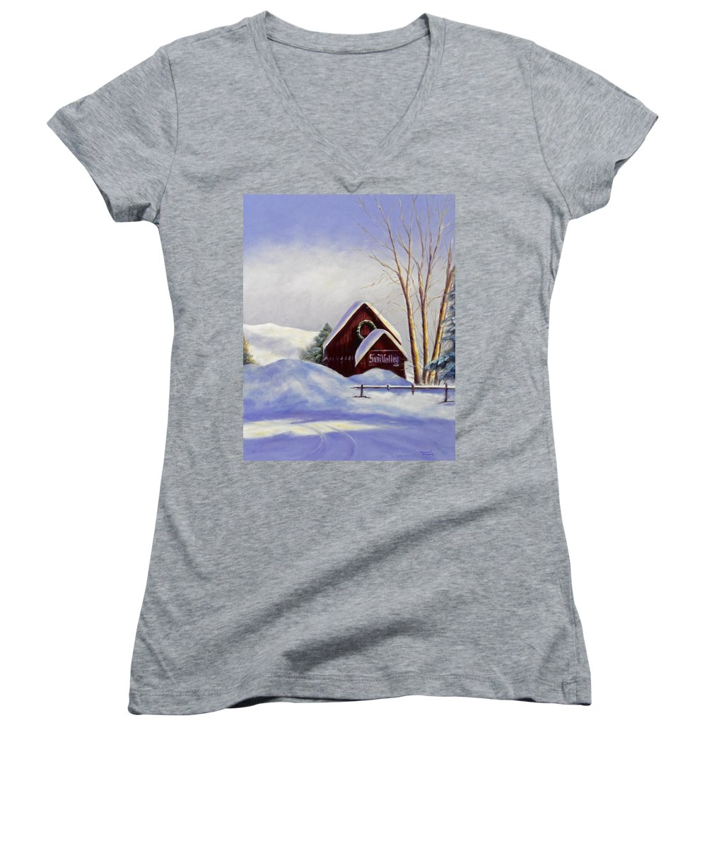 Landscape Women's V-Neck T-Shirt featuring the painting Sun Valley 2 by Shannon Grissom