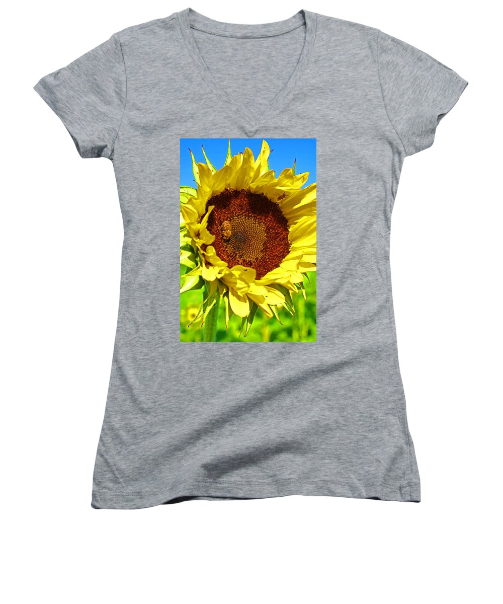 Pastoral Women's V-Neck (Athletic Fit) featuring the photograph Sunflower And Bee by Heather Coen