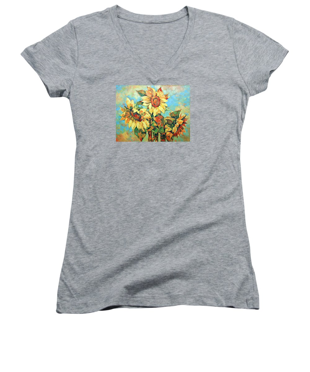 Sunflowers Women's V-Neck T-Shirt featuring the painting Sunflowers by Iliyan Bozhanov