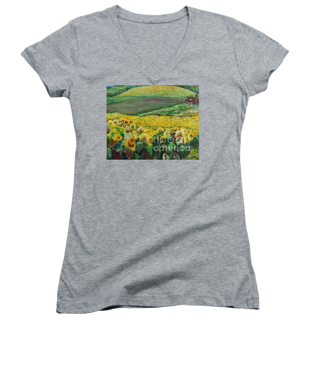 A Field Of Yellow Sunflowers Women's V-Neck T-Shirt featuring the painting Sunflowers In Provence by Nadine Rippelmeyer