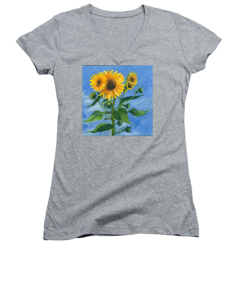 Flowers Women's V-Neck T-Shirt featuring the painting Sunflowers On Bauer Farm by Paula Emery