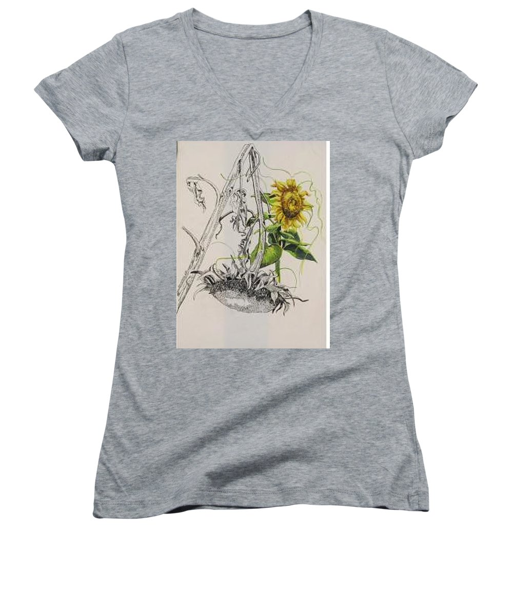 Large Sunflowers Featured Women's V-Neck (Athletic Fit) featuring the painting Sunflowers by Wanda Dansereau