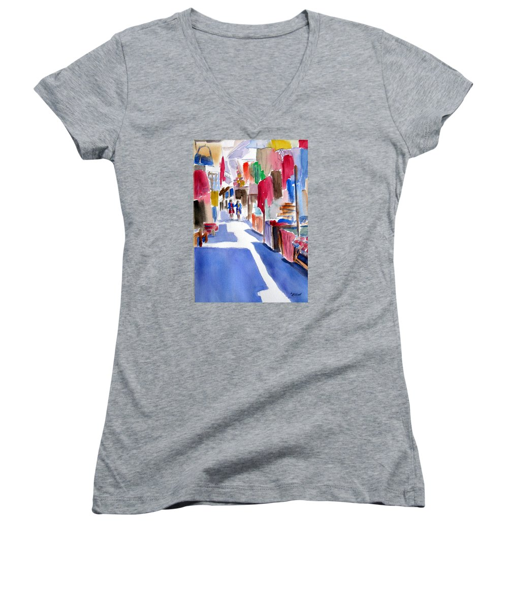 Market Women's V-Neck T-Shirt featuring the painting Sunny Day At The Market by Marsha Elliott