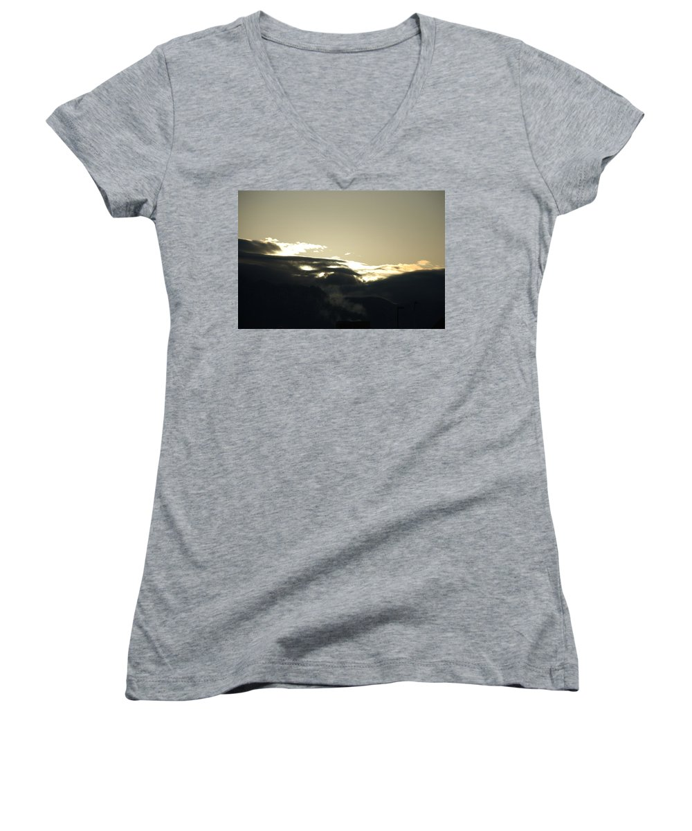 Sunrise Women's V-Neck (Athletic Fit) featuring the photograph Sunrise Over The Sandias by Rob Hans