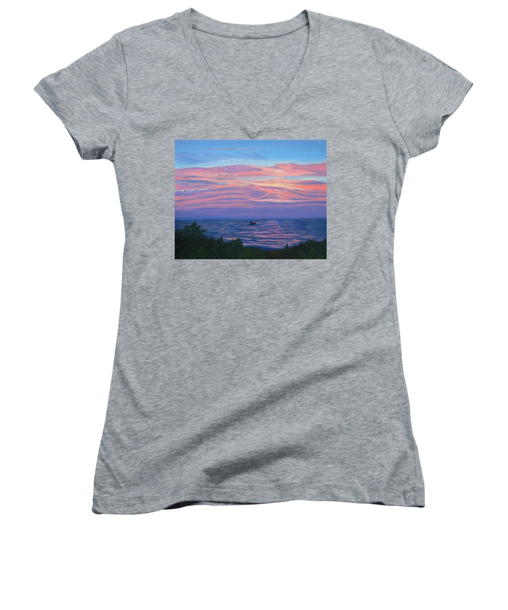 Seascape Women's V-Neck T-Shirt featuring the painting Sunset Bay by Lea Novak