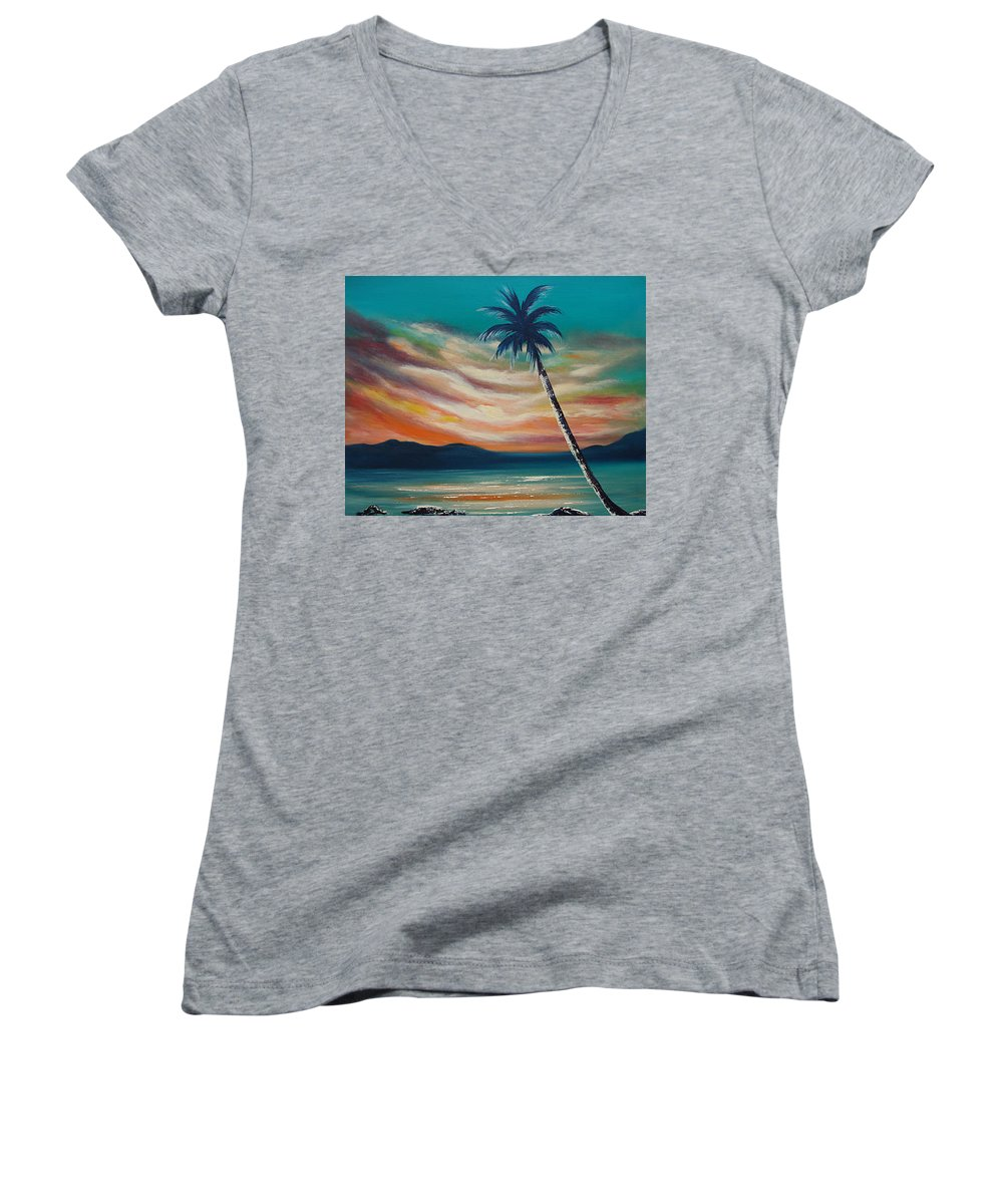 Sunset Women's V-Neck T-Shirt featuring the painting Sunset In Paradise by Gina De Gorna