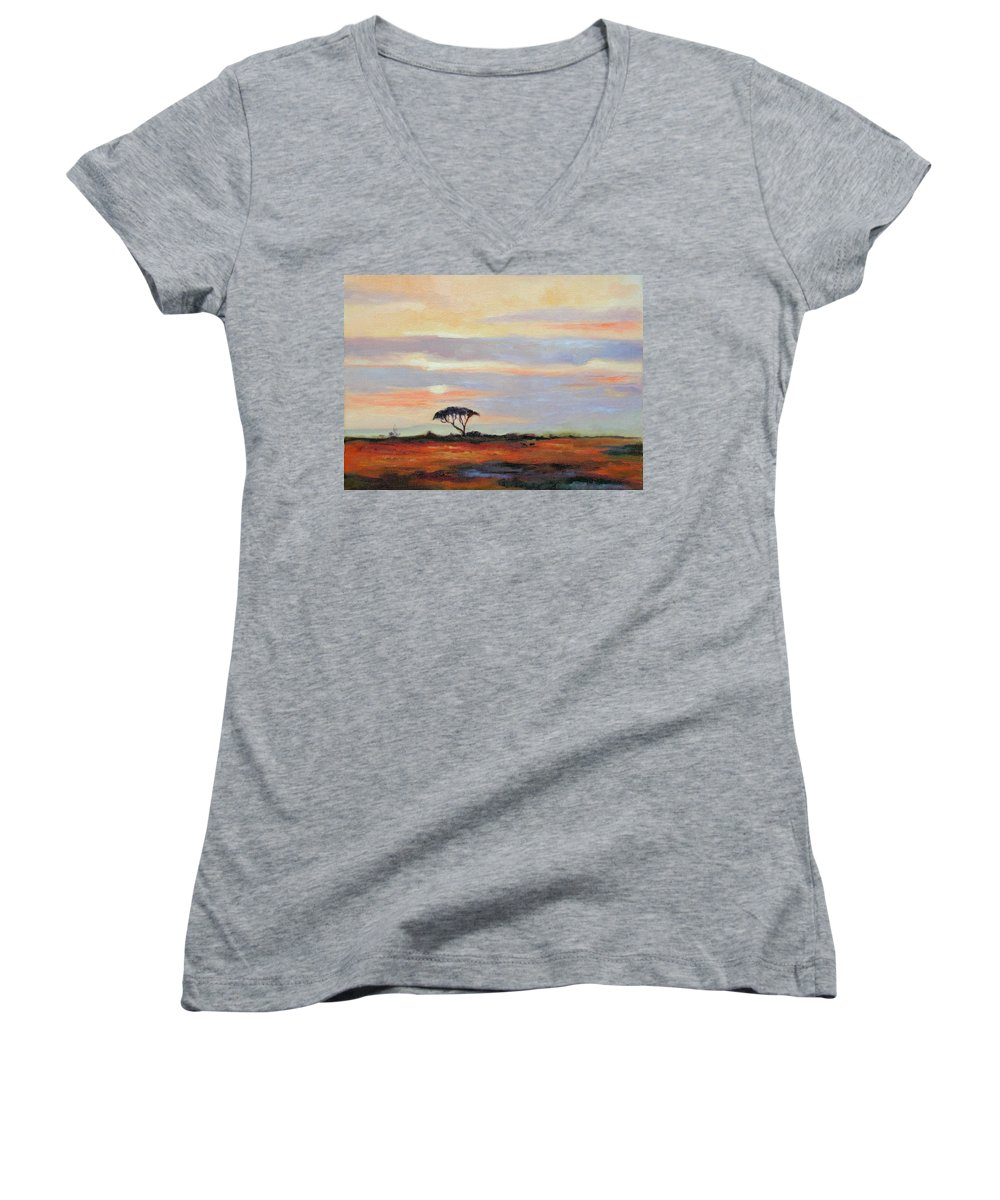 Landscape Women's V-Neck (Athletic Fit) featuring the painting Sunset On The Serengheti by Ginger Concepcion