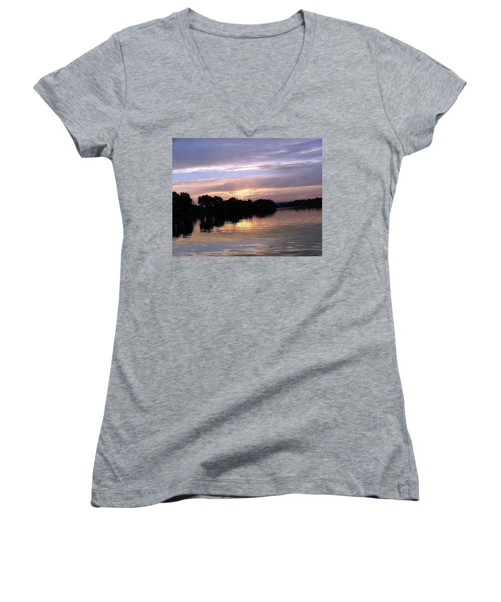 Snake River Women's V-Neck T-Shirt featuring the photograph Sunset On The Snake by Dawn Blair