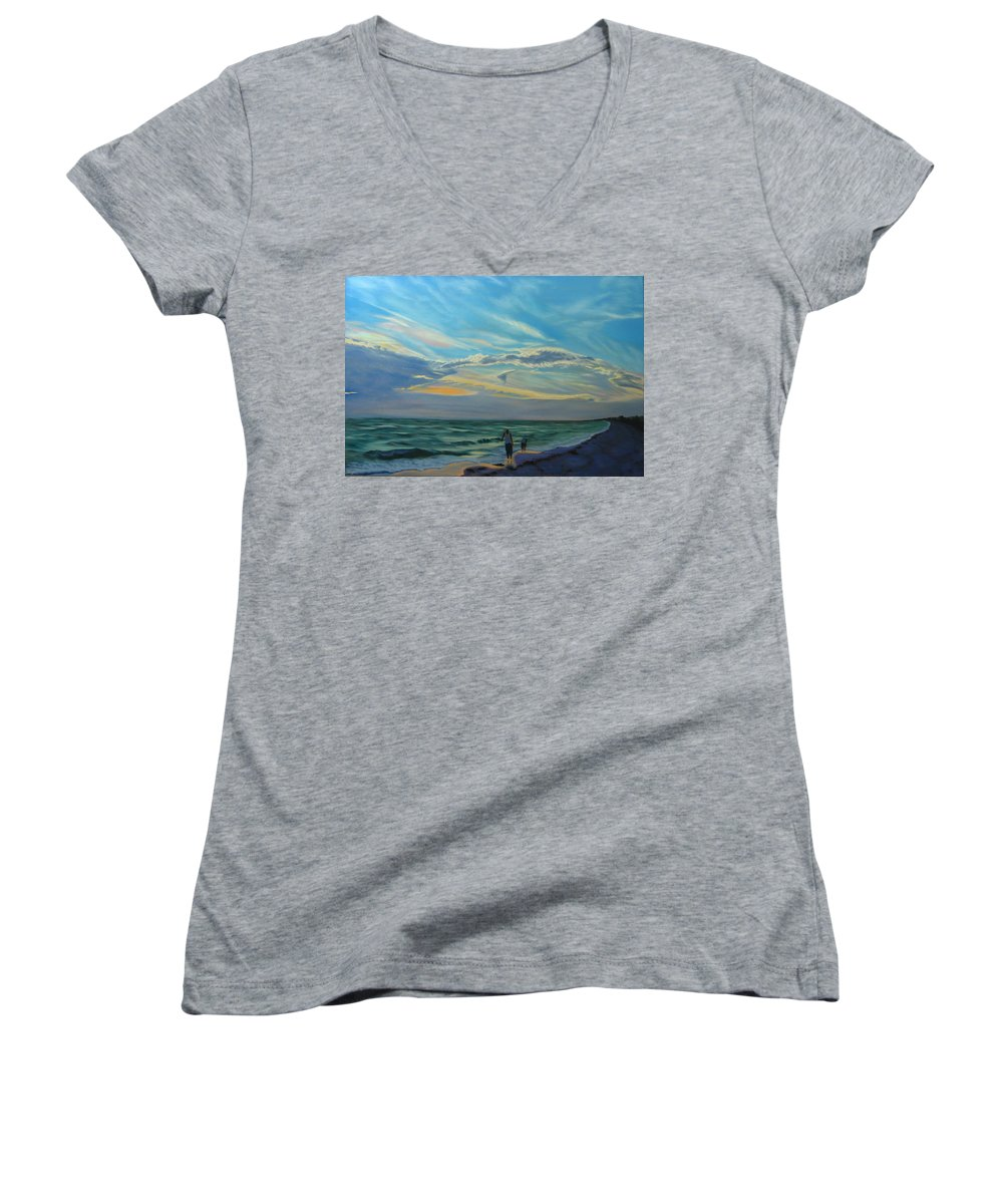 Seascape Women's V-Neck (Athletic Fit) featuring the painting Sunset Treasure Hunt by Lea Novak
