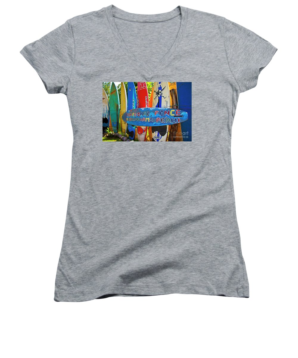 Surfboards Women's V-Neck (Athletic Fit) featuring the photograph Surfboard Fence-the Amazing Race by Jim Cazel