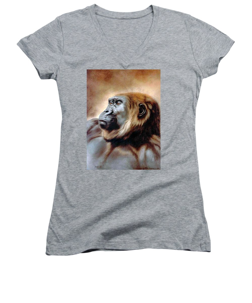 Gorilla Women's V-Neck (Athletic Fit) featuring the painting Suzie Q by Deb Owens-Lowe