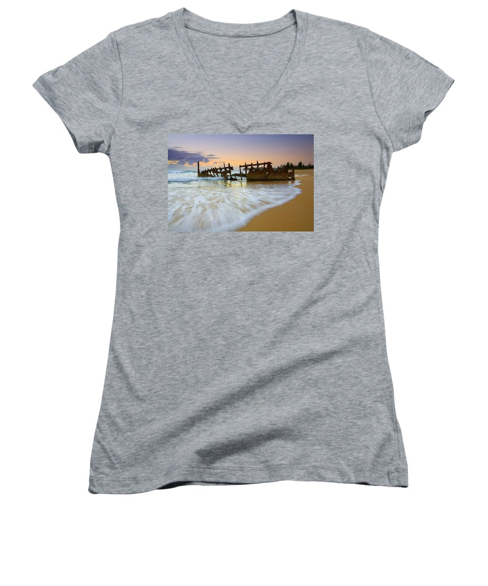 Shipwreck Women's V-Neck T-Shirt featuring the photograph Swallowed By The Tides by Mike Dawson