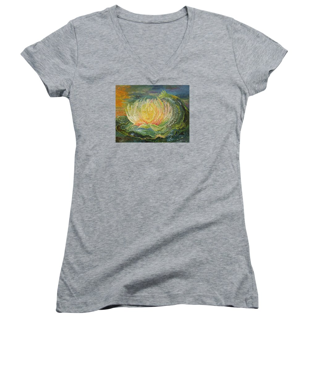 Flower Women's V-Neck T-Shirt featuring the painting Sweet Morning Dream by Karina Ishkhanova