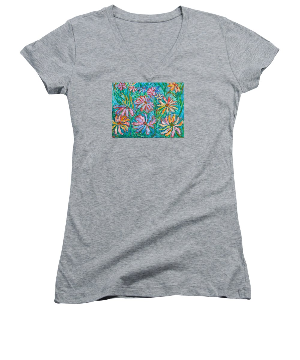 Impressionist Women's V-Neck T-Shirt featuring the painting Swirling Color by Kendall Kessler