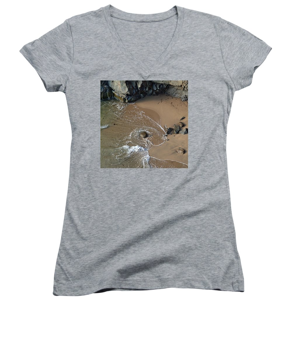 Big Sur Women's V-Neck T-Shirt (Junior Cut) featuring the photograph Swirling Surf And Rocks by Charlene Mitchell