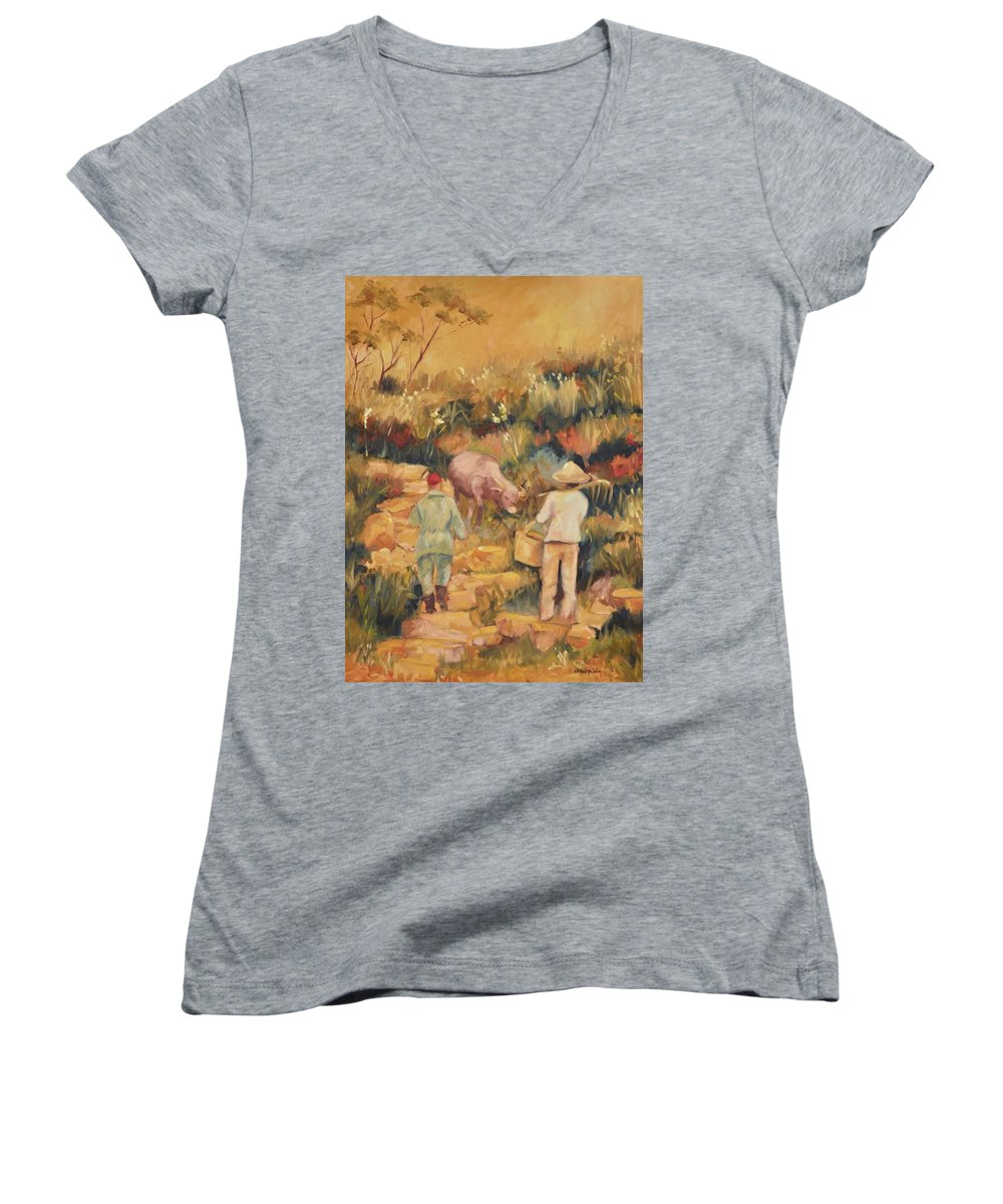 Water Buffalo Women's V-Neck T-Shirt featuring the painting Taipei Buffalo Herder by Ginger Concepcion