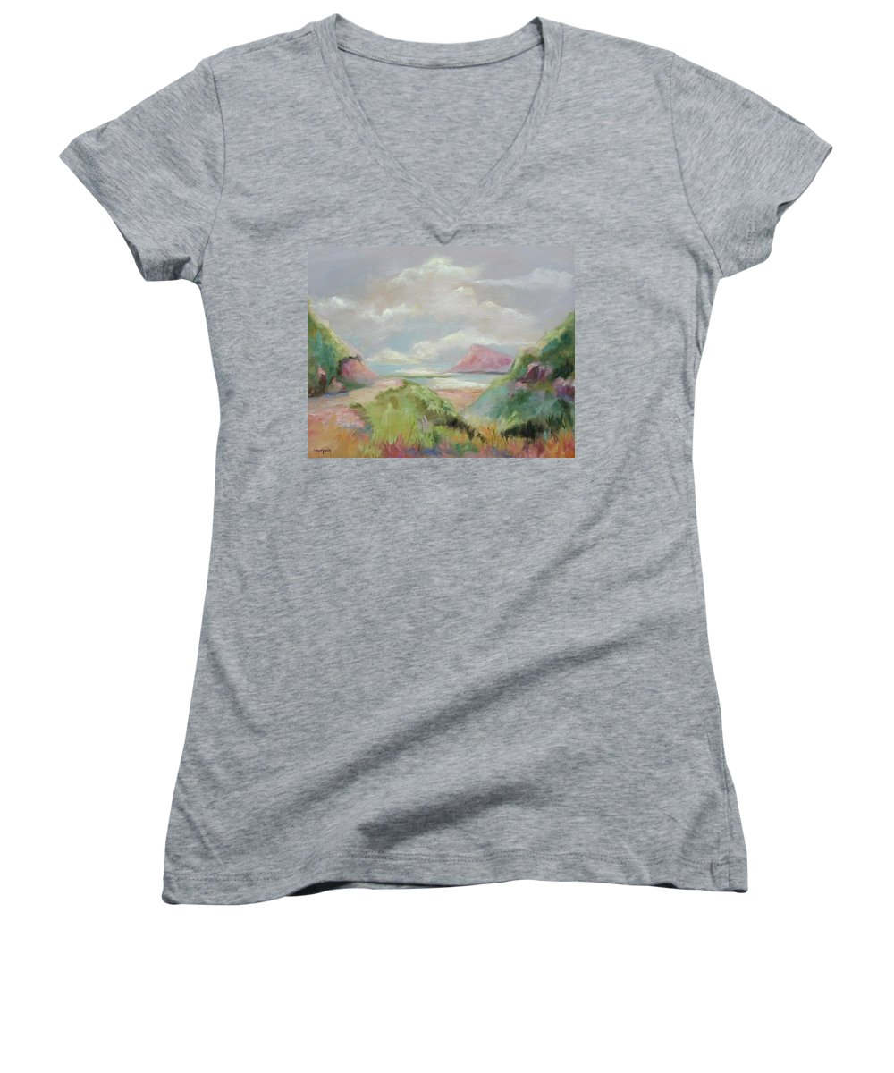 Seascape Women's V-Neck T-Shirt featuring the painting Taiwan Inlet by Ginger Concepcion