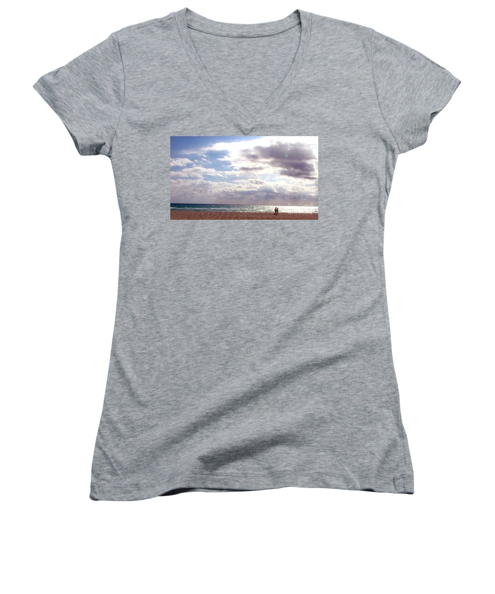 Walking Women's V-Neck (Athletic Fit) featuring the photograph Taking A Walk by Amanda Barcon