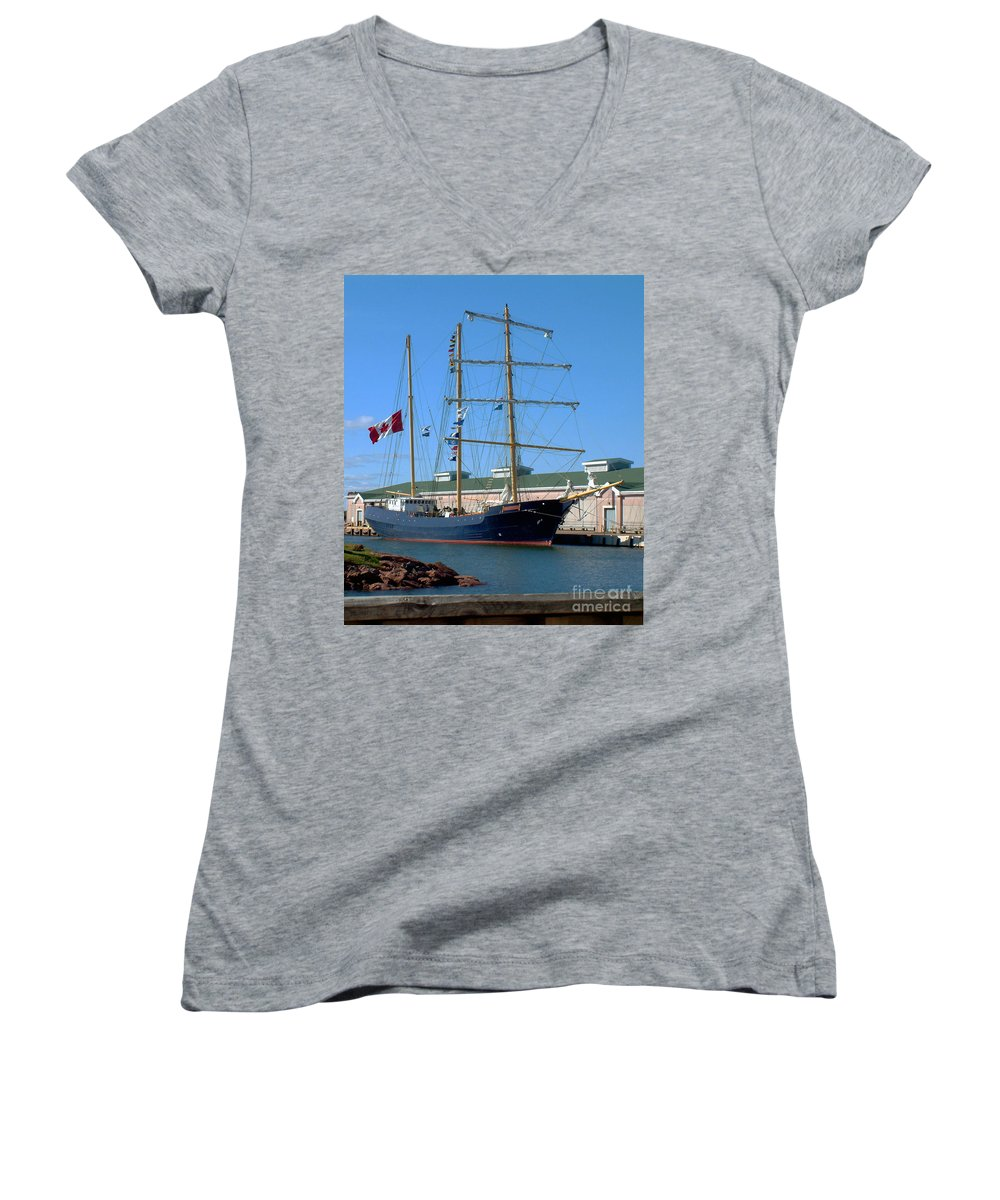 Dock Women's V-Neck (Athletic Fit) featuring the photograph Tall Ship Waiting by RC DeWinter