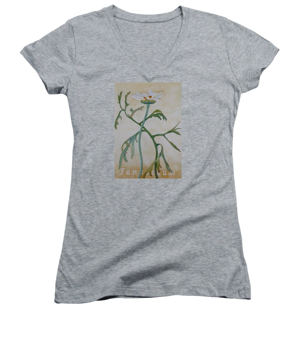 Flower Women's V-Neck (Athletic Fit) featuring the painting Tanacetum by Ruth Kamenev