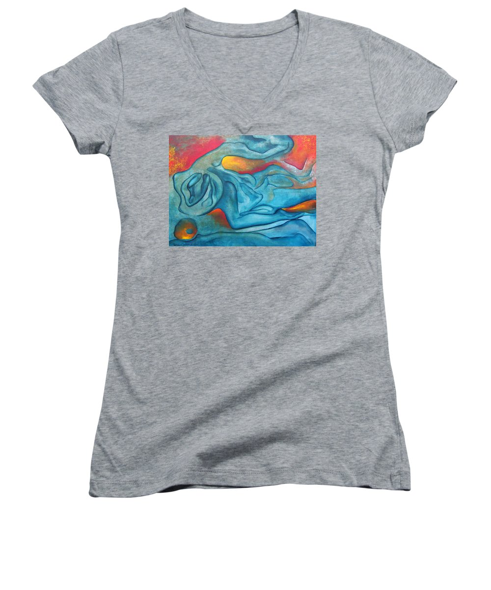 Abstract Blues Love Passion Sensual Earth Women's V-Neck T-Shirt featuring the painting Tangled Up by Veronica Jackson