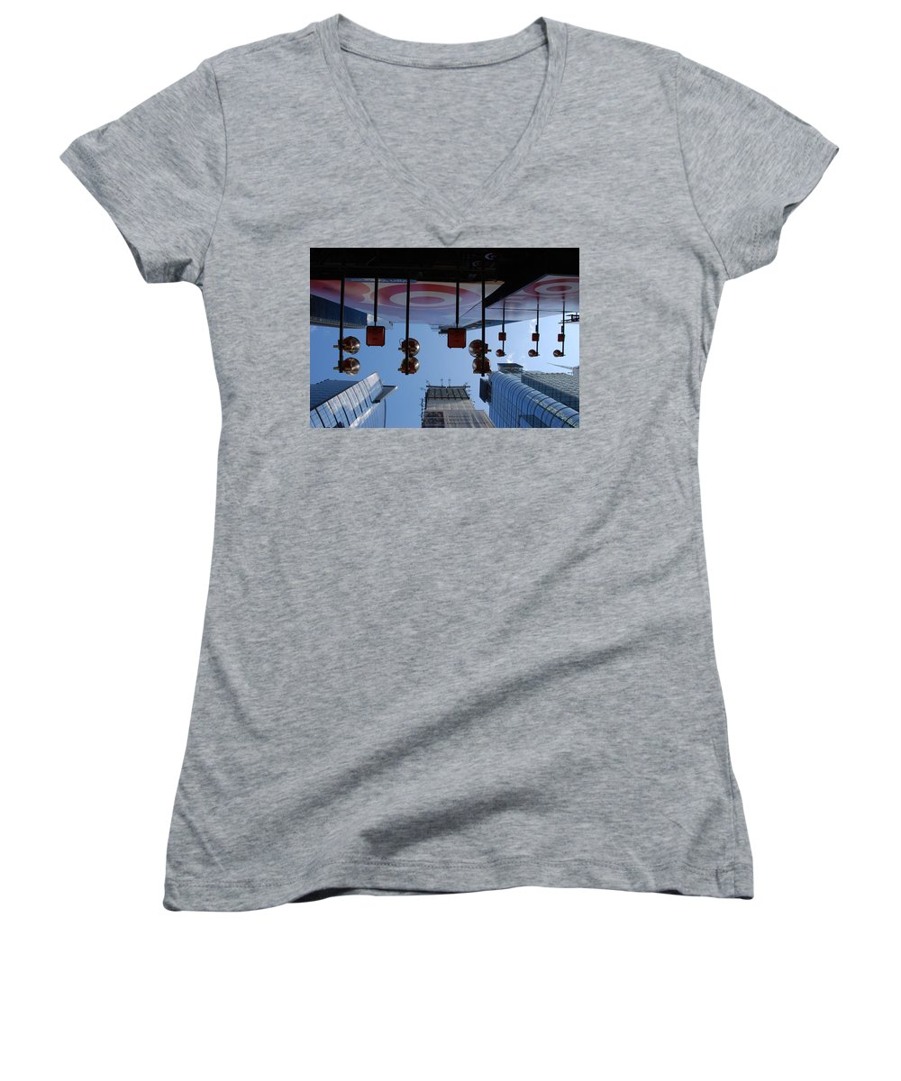 Architecture Women's V-Neck T-Shirt featuring the photograph Target Lights by Rob Hans
