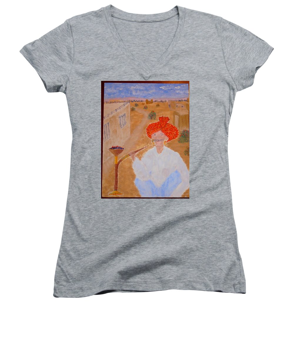 People Women's V-Neck T-Shirt featuring the painting Tau by R B
