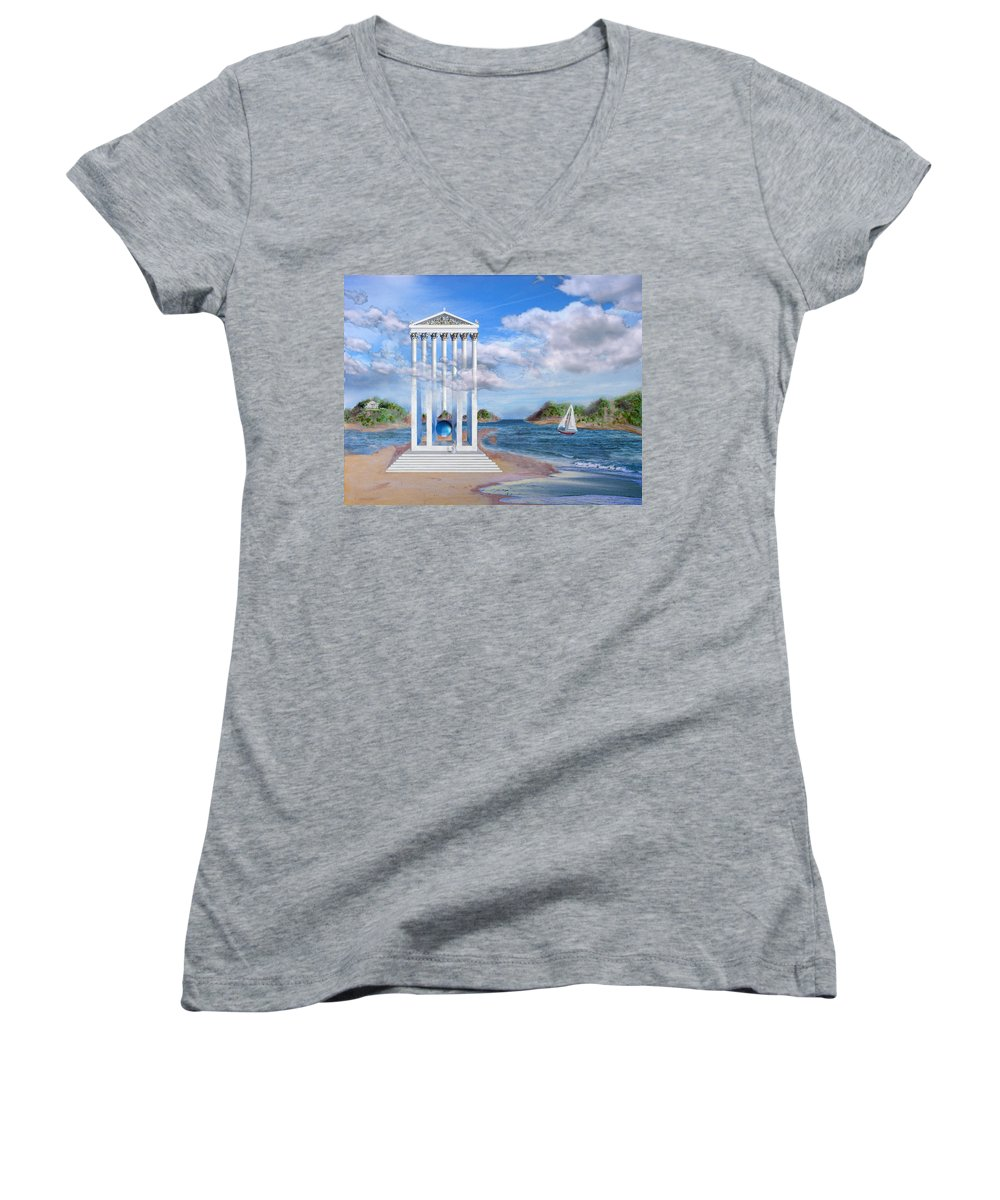 Landscape Women's V-Neck (Athletic Fit) featuring the painting Temple For No One by Steve Karol