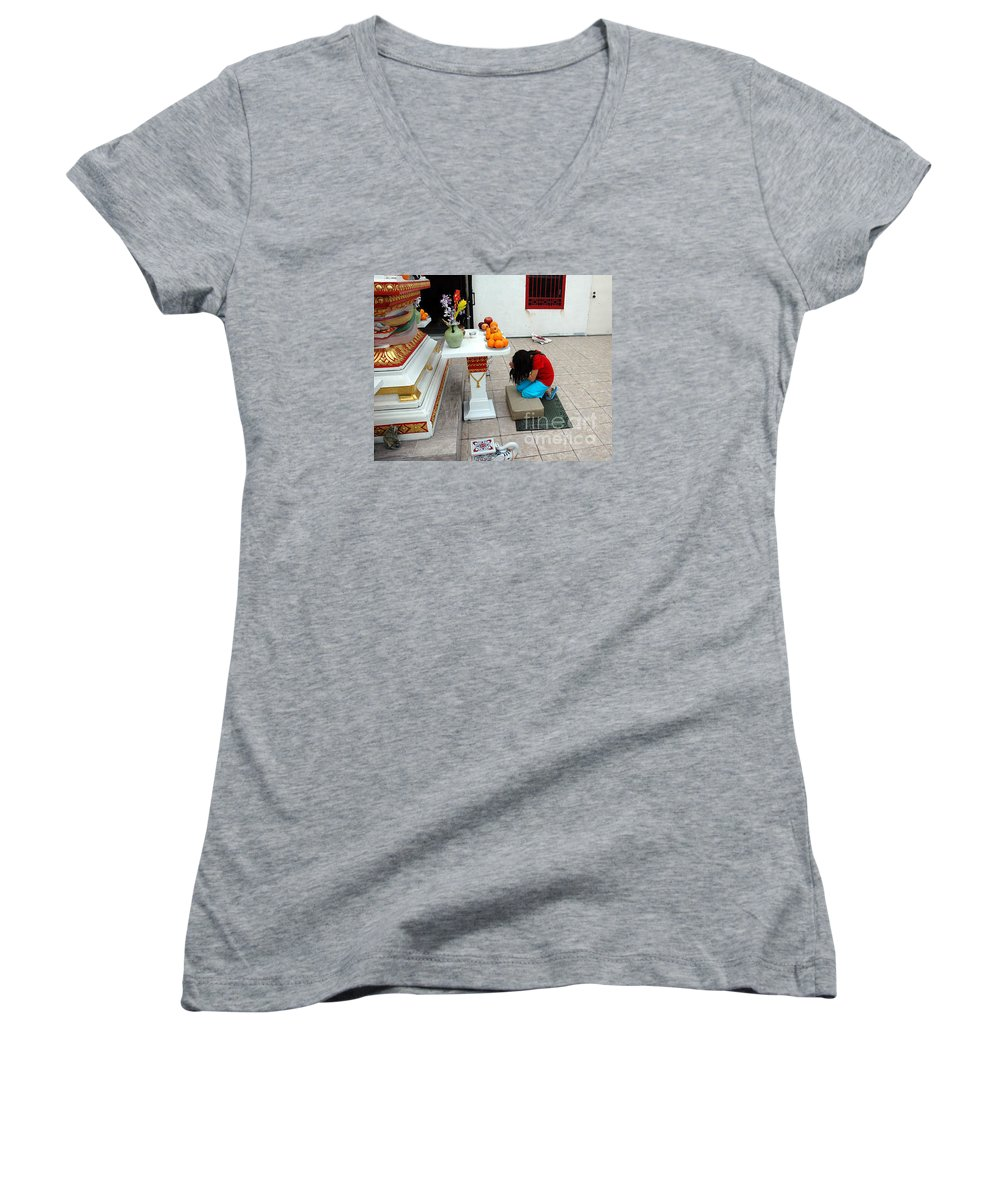 Child Women's V-Neck T-Shirt featuring the photograph Temple Prayer by Michael Ziegler