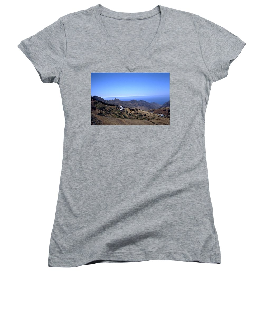 Tenerife Women's V-Neck T-Shirt featuring the photograph Tenerife II by Flavia Westerwelle