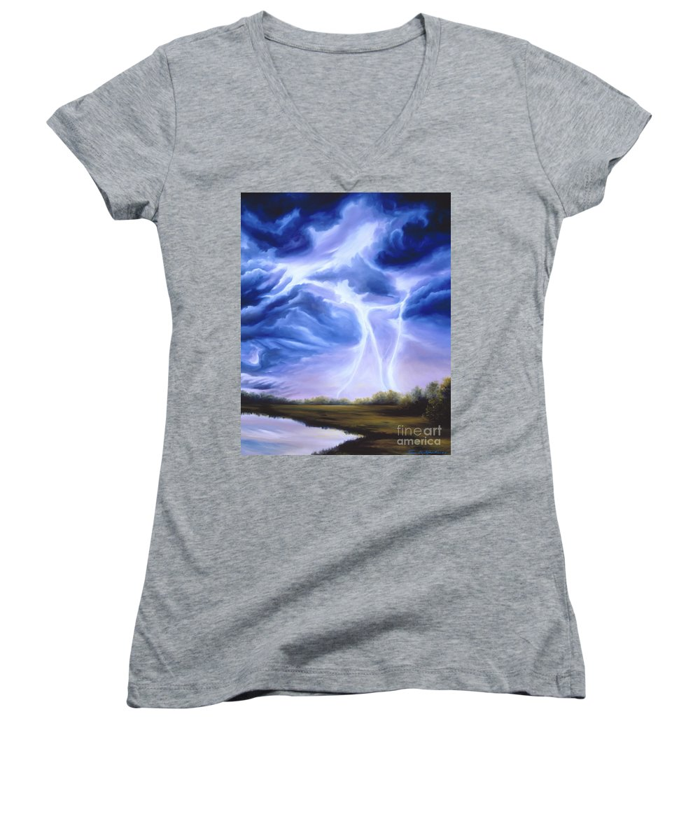Marsh Women's V-Neck T-Shirt featuring the painting Tesla by James Christopher Hill