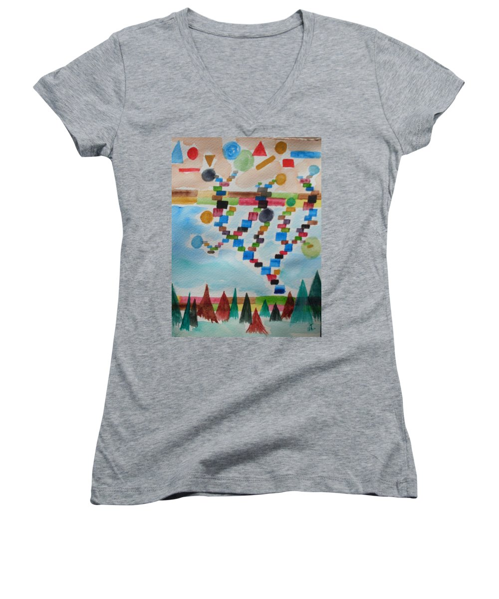 Abstract Women's V-Neck (Athletic Fit) featuring the painting Tetrus Meets Nature by Warren Thompson