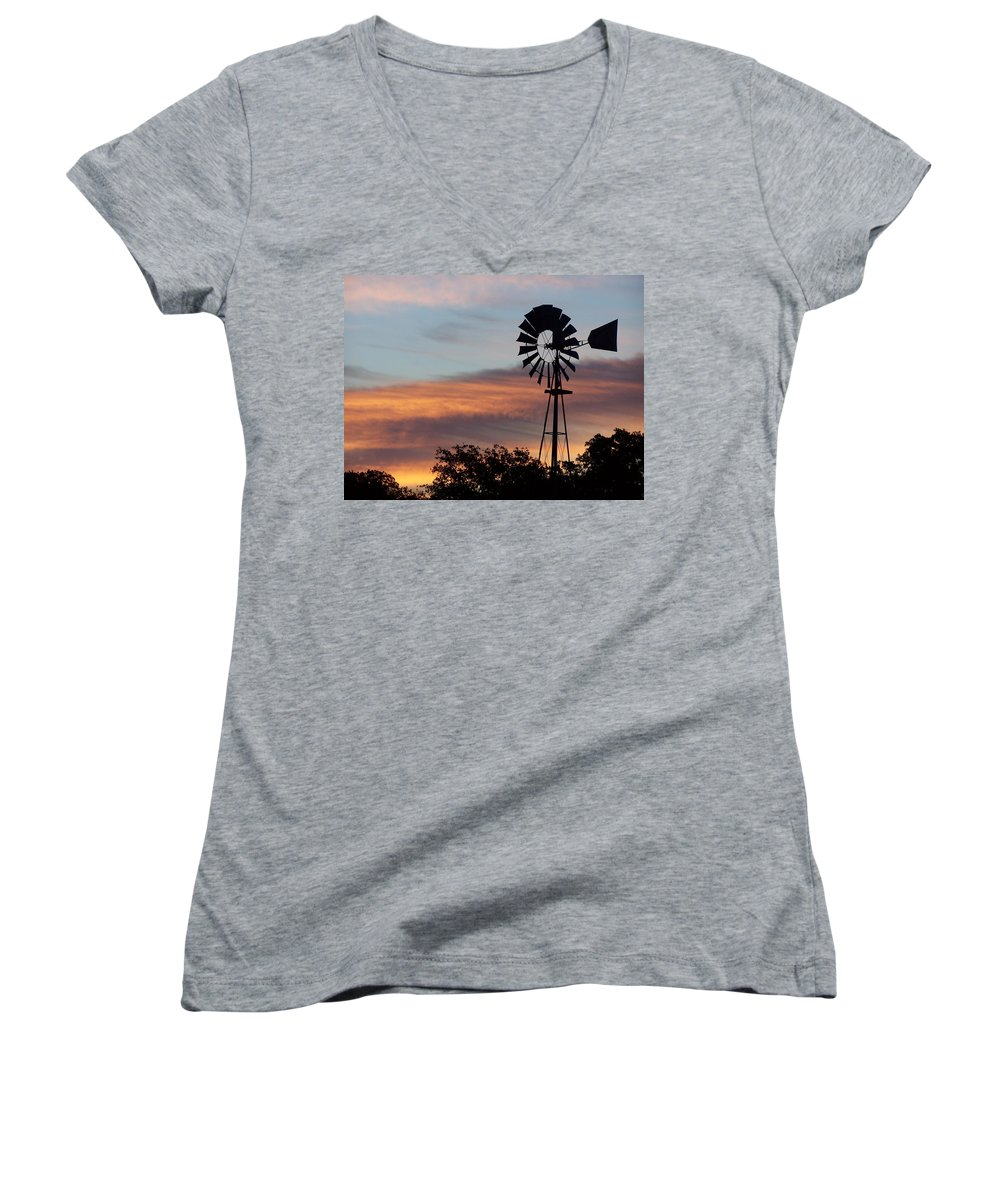 Windmill Women's V-Neck T-Shirt featuring the photograph Texas Sunrise by Gale Cochran-Smith