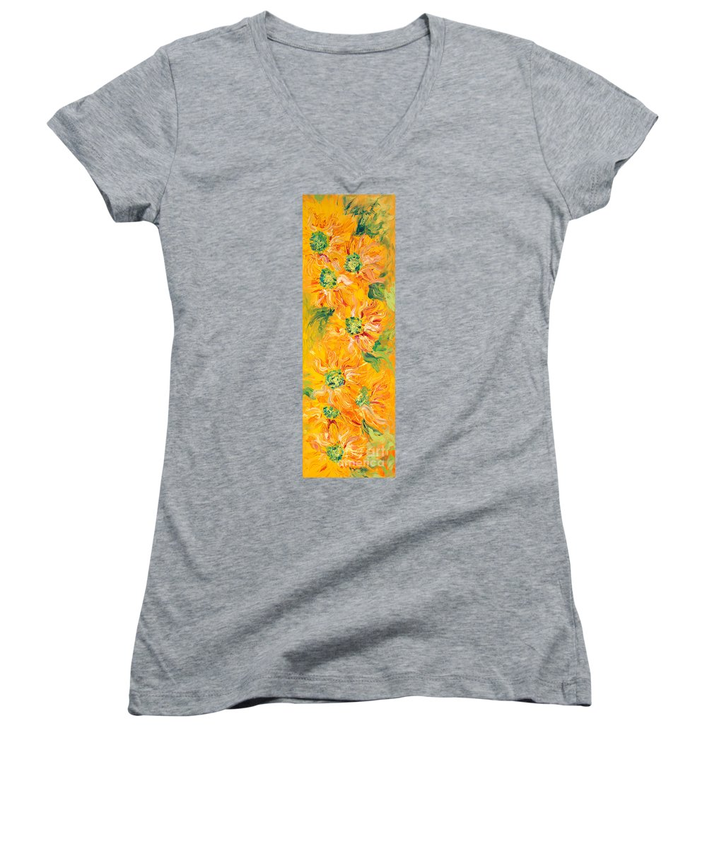 Yellow Women's V-Neck (Athletic Fit) featuring the painting Textured Yellow Sunflowers by Nadine Rippelmeyer