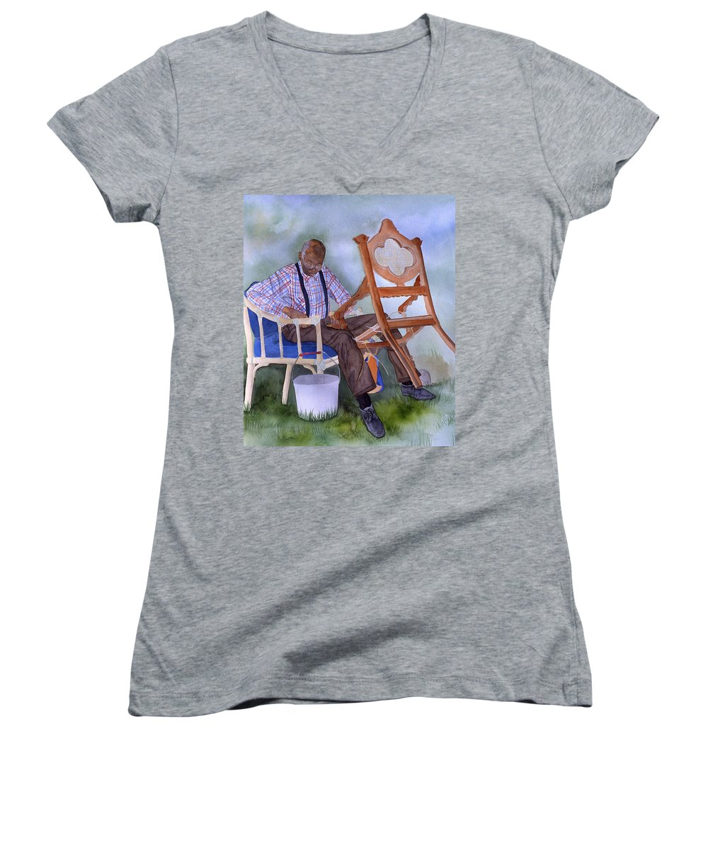 Portrait Women's V-Neck (Athletic Fit) featuring the painting The Art Of Caning by Jean Blackmer