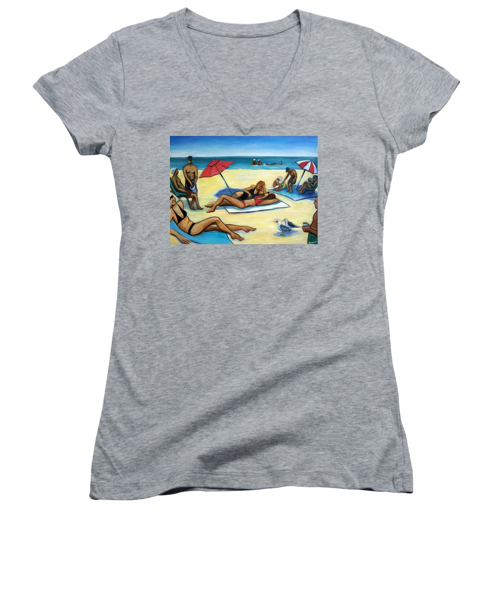 Beach Scene Women's V-Neck T-Shirt featuring the painting The Beach by Valerie Vescovi
