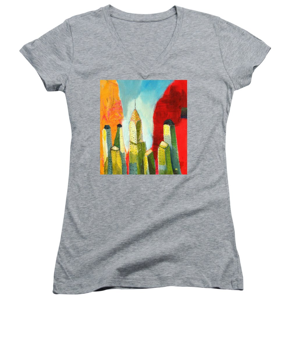 Abstract Cityscape Women's V-Neck T-Shirt featuring the painting The Chrysler In Colors by Habib Ayat