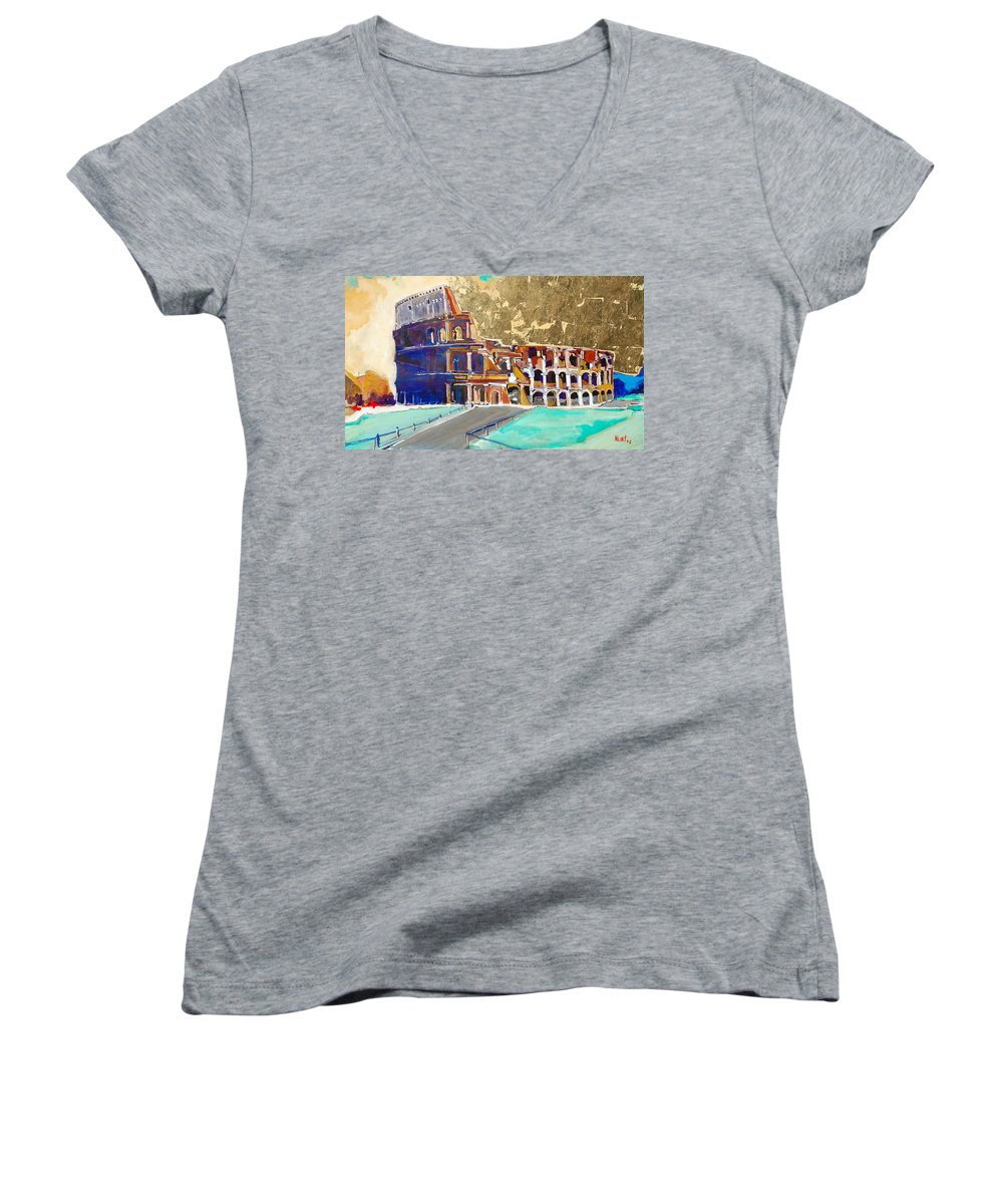 Colosseum Women's V-Neck T-Shirt featuring the painting The Colosseum by Kurt Hausmann