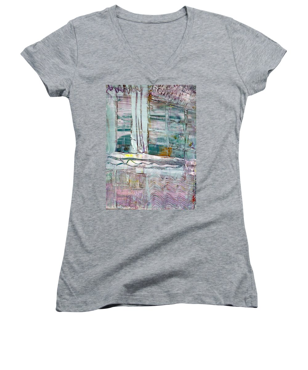 Abstract Women's V-Neck (Athletic Fit) featuring the painting The Corner Window by Wayne Potrafka