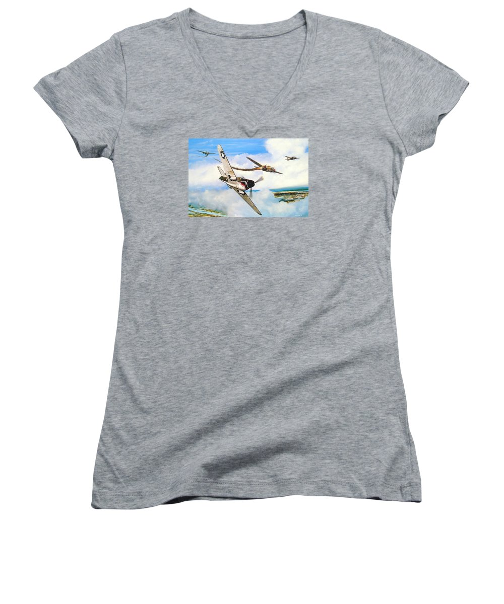 Military Women's V-Neck (Athletic Fit) featuring the painting The Day I Owned The Sky by Marc Stewart