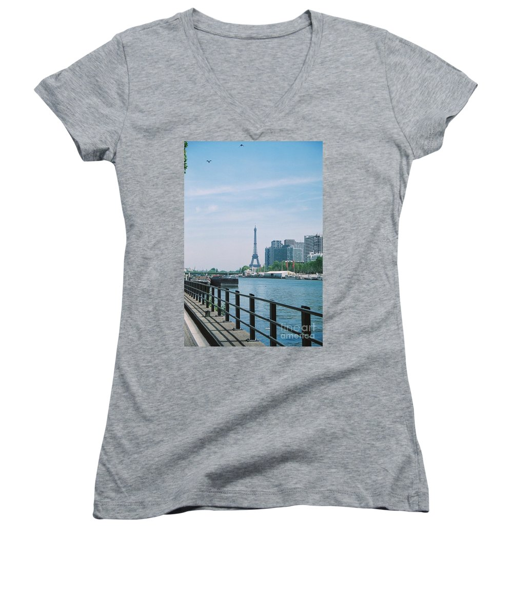 The Eiffel Tower Women's V-Neck T-Shirt featuring the photograph The Eiffel Tower And The Seine River by Nadine Rippelmeyer
