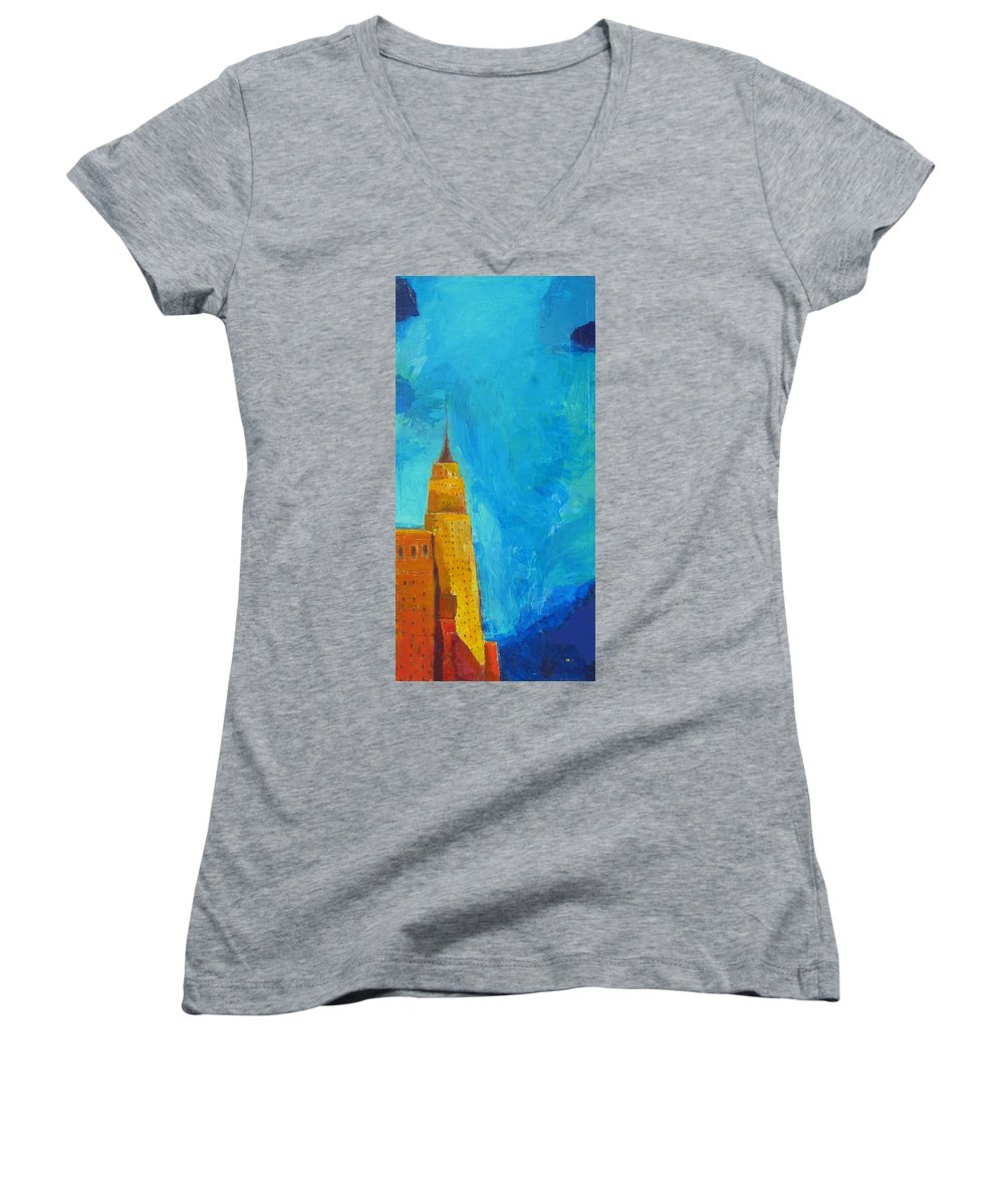 Abstract Cityscape Women's V-Neck (Athletic Fit) featuring the painting The Empire State by Habib Ayat