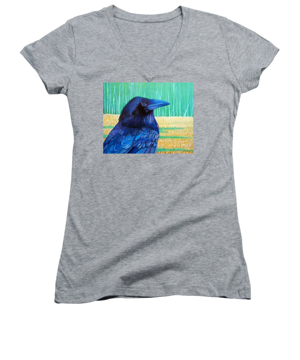 Raven Women's V-Neck (Athletic Fit) featuring the painting The Field Of Dreams by Brian Commerford