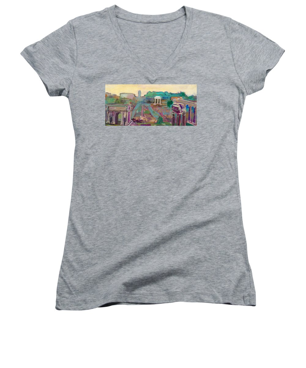 Rome Women's V-Neck (Athletic Fit) featuring the painting The Forum Romanum by Kurt Hausmann