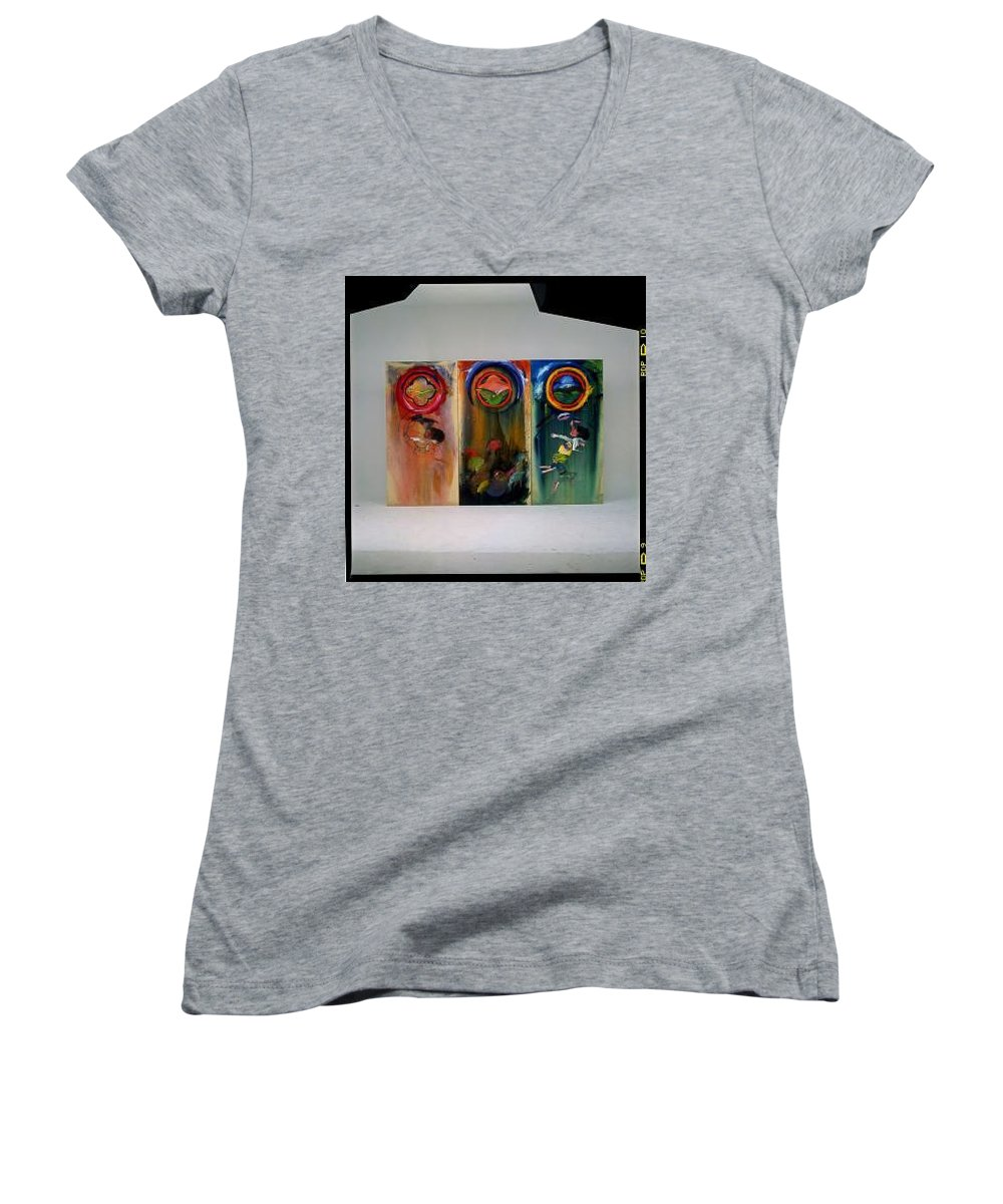 Fall From Grace Women's V-Neck T-Shirt featuring the painting The Fruit Machine Stops by Charles Stuart
