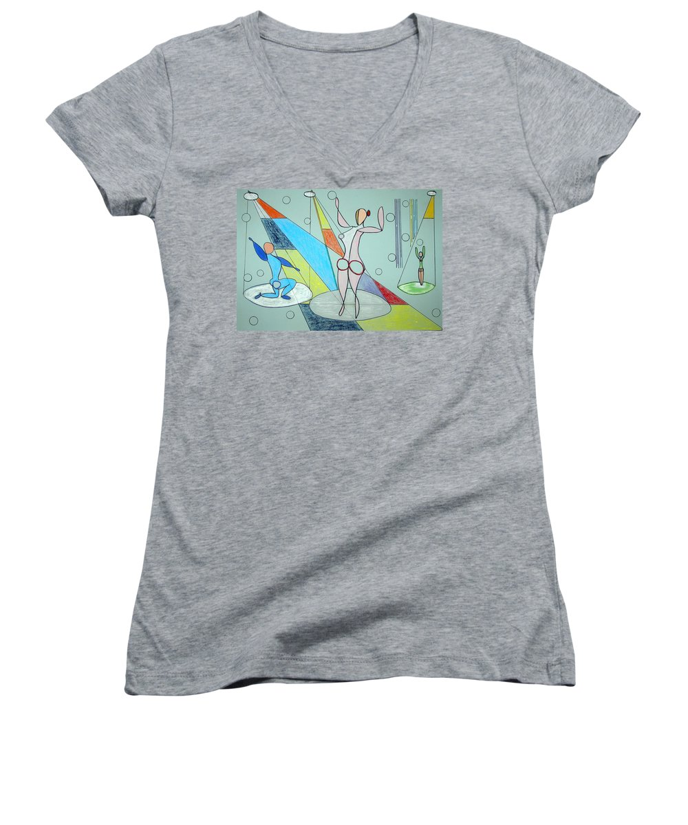Juggling Women's V-Neck T-Shirt featuring the drawing The Jugglers by J R Seymour
