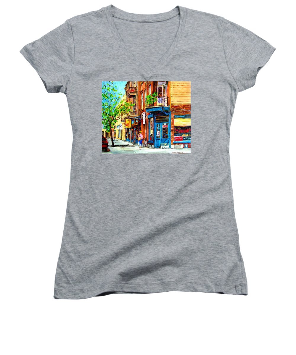 Wilenskys Women's V-Neck T-Shirt featuring the painting The Lady In Pink by Carole Spandau